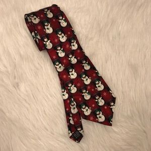 Yule Tie Greetings Silk Necktie Snowmen Christmas